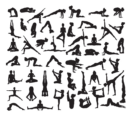 yoga silhouettes stock illustrations