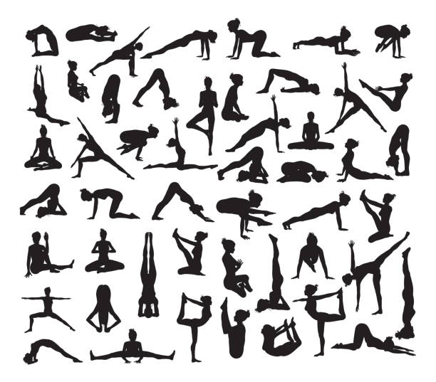 yoga poses silhouettes - yoga stock illustrations, clip art, cartoons, & icons