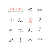 Yoga Poses - Thin Single Line Icons Set