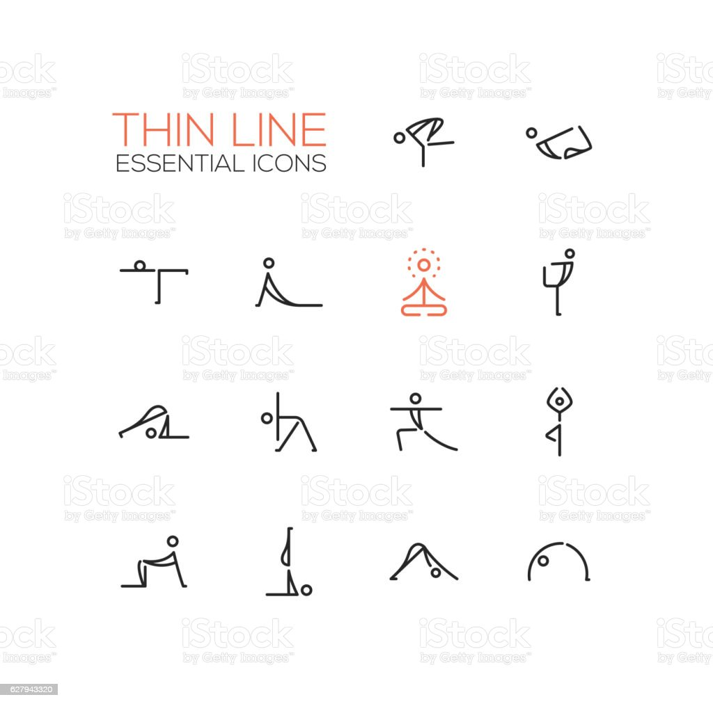 Yoga Poses - Thin Single Line Icons Set vector art illustration