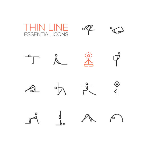 yoga poses - thin single line icons set - yoga stock illustrations, clip art, cartoons, & icons