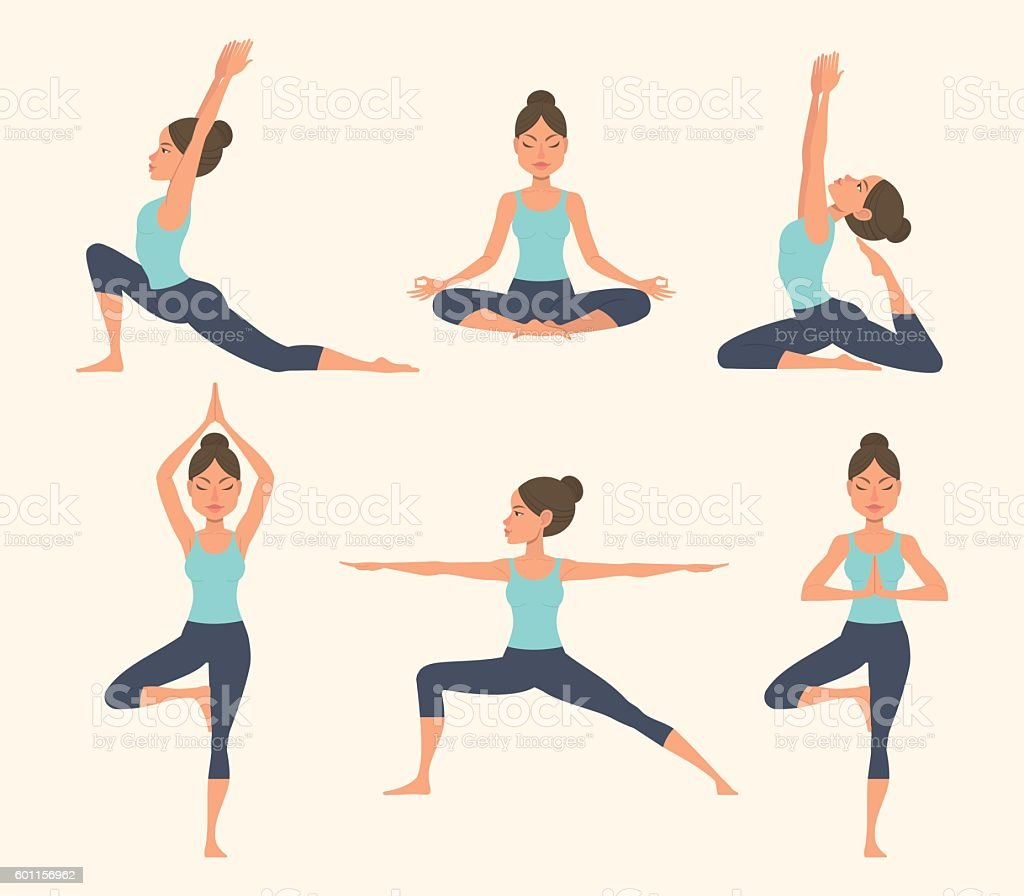Yogaposen Stock Vektor Art und mehr Bilder von Aktivitäten und Sport