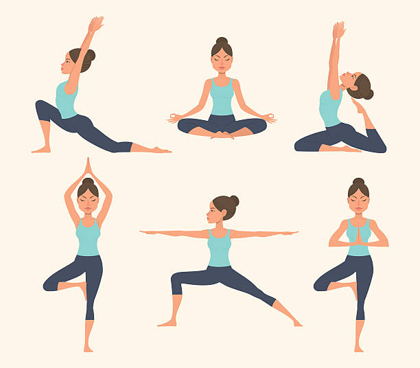 yoga poses. - yoga stock illustrations, clip art, cartoons, & icons