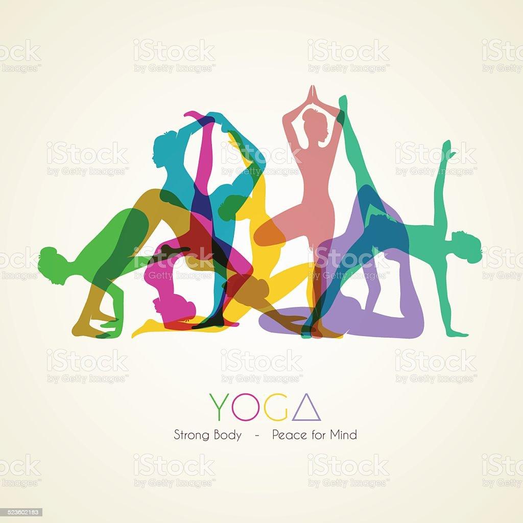 Mujer pone en silueta de Yoga - ilustración de arte vectorial