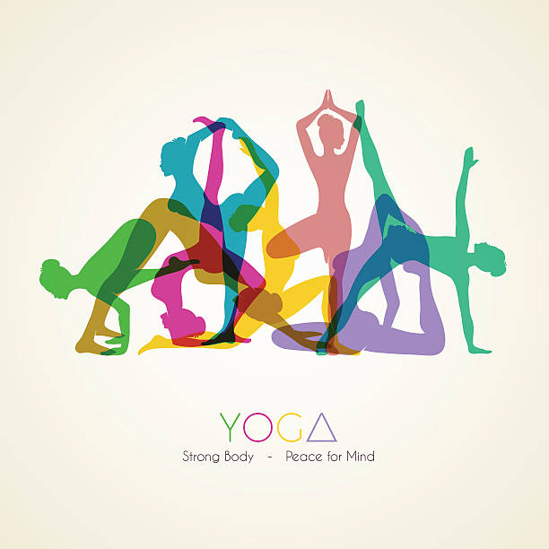 yoga poses woman's silhouette - yoga stock illustrations, clip art, cartoons, & icons
