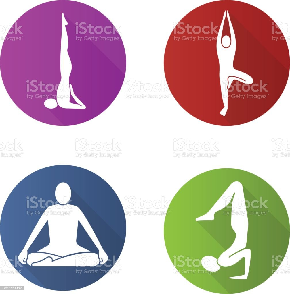 Yoga positions icons vector art illustration