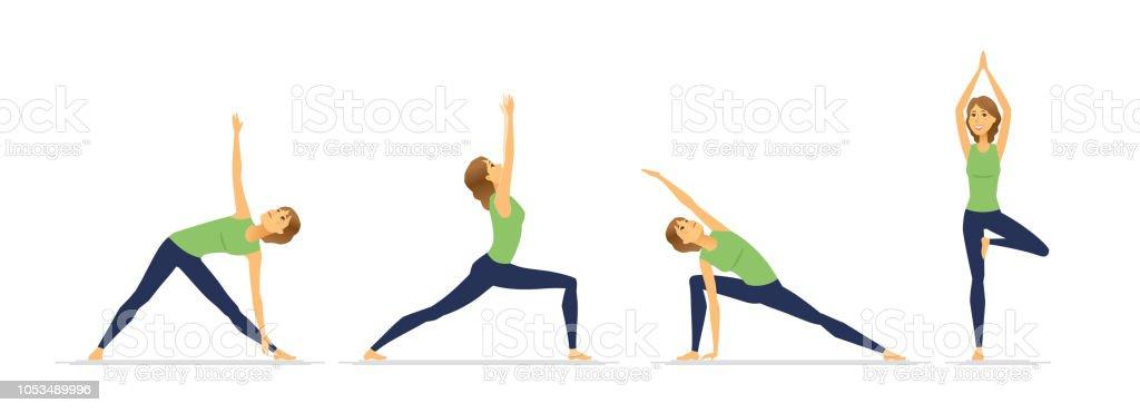 Postures De Yoga Jeu De Caracteres De Dessin Anime Vecteur Moderne