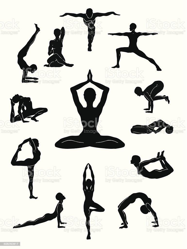Yoga positions royalty-free stock vector art