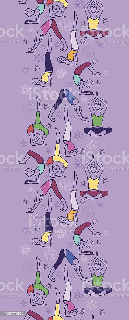 Yoga Positions Vertical Seamless Pattern Ornament royalty-free yoga positions vertical seamless pattern ornament stock vector art & more images of activity