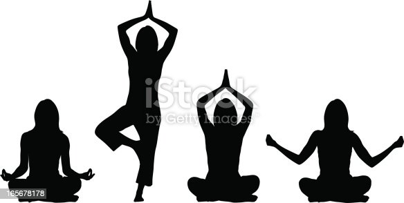 4 different yoga silhouette positions, performed by a woman.