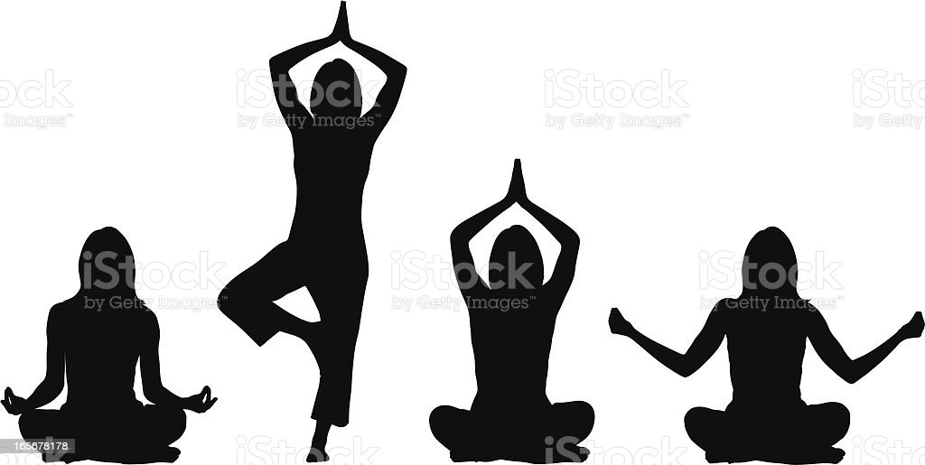 Yoga positions - Woman vector art illustration