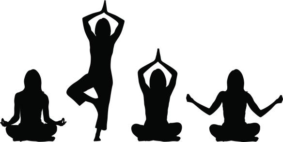 yoga silhouettes stock illustrations