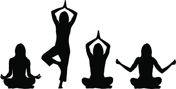 yoga positions - woman - yoga stock illustrations, clip art, cartoons, & icons