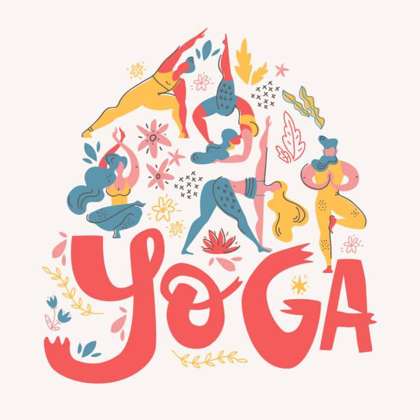 Affiche de yoga dans le style scandinave folklorique avec yogis, plantes et lettrage. Illustration de vecteur plat. - Illustration vectorielle