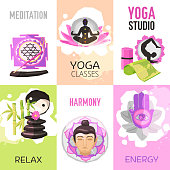 Yoga mini poster set with relax and meditation symbols isolated vector illustration