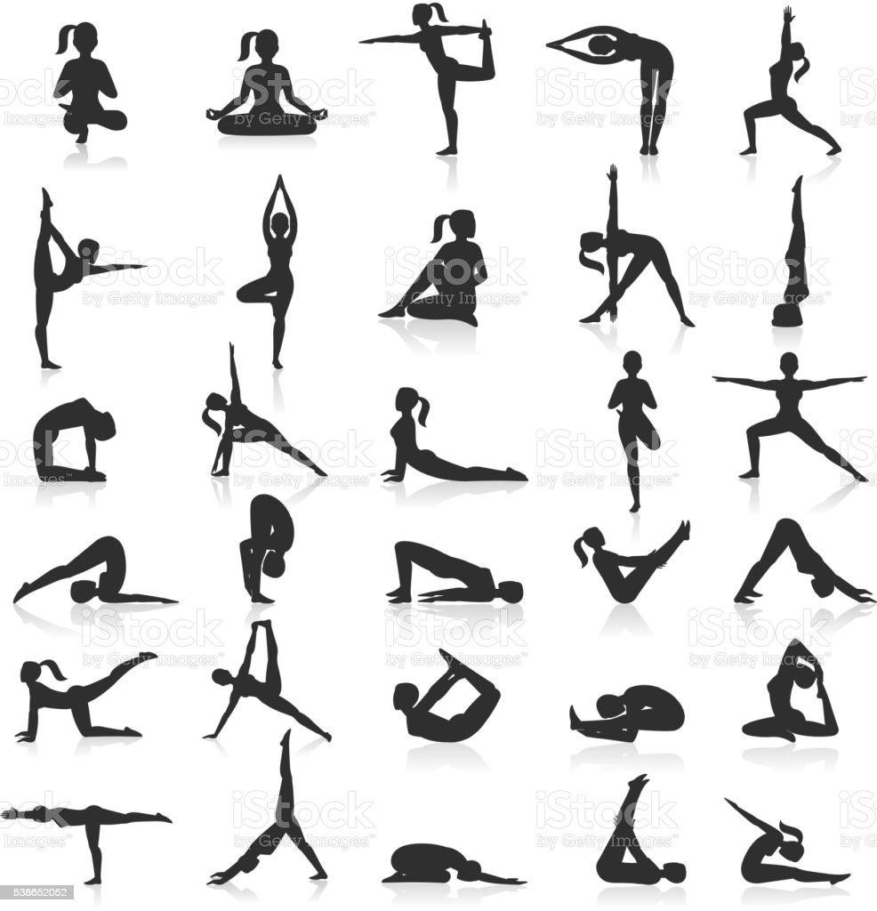 Yoga postures exercises set. vector art illustration