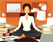 Woman sitting at the desktop and practicing yoga. Eps and hi-res jpg, layers.