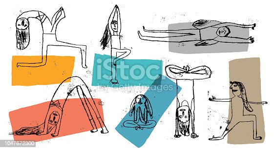 People practicing yoga. Prints