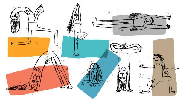 Yoga practice People practicing yoga. Prints yoga stock illustrations