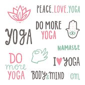 Yoga quotes. Set of hand drawn lettering. Vector isolated on white illustration