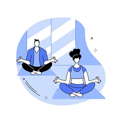 Yoga school abstract concept vector illustration. Yoga and fitness studio, meditation practice school, certified instructor, class level, buy subscription online, vipassana abstract metaphor.