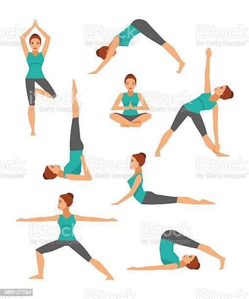 Yoga set vector illustration flat style vector id589107294?b=1&k=6&m=589107294&s=612x612&h=xdbnc1ntgvp2 9sobastxp69q jyauyhmeaynkrezjw=