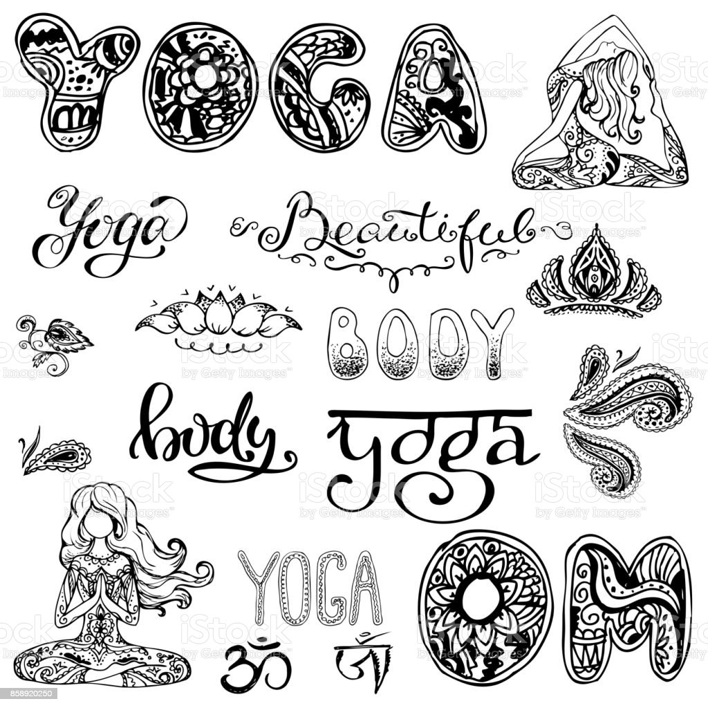 Yoga Set With Letteringornamentyoga Pose Stock ...
