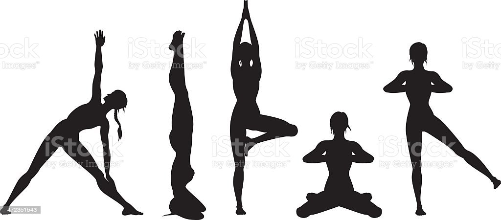 Yoga silhouette set vector art illustration