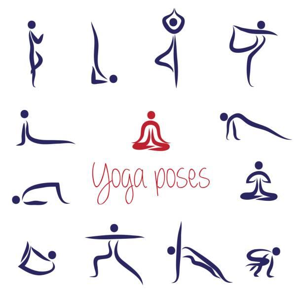 Yoga Silhouettes Asanas pack Vector Yoga Silhouettes Asanas pack Vector good posture stock illustrations