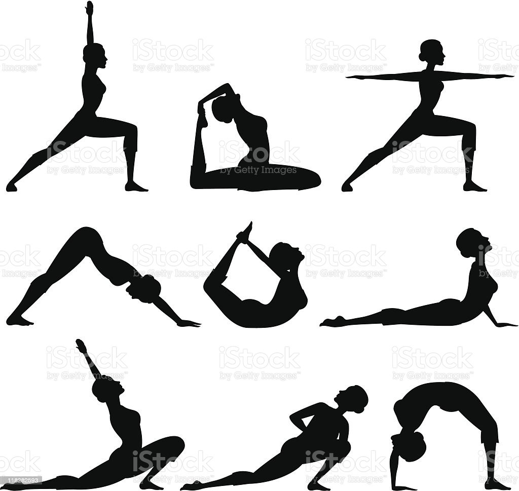 Yoga Silhouettes royalty-free stock vector art