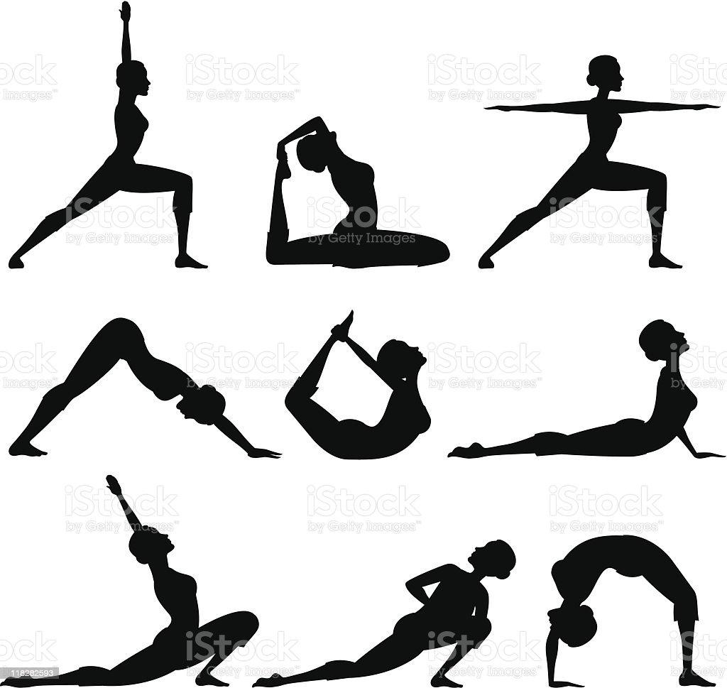 Yoga Silhouettes vector art illustration