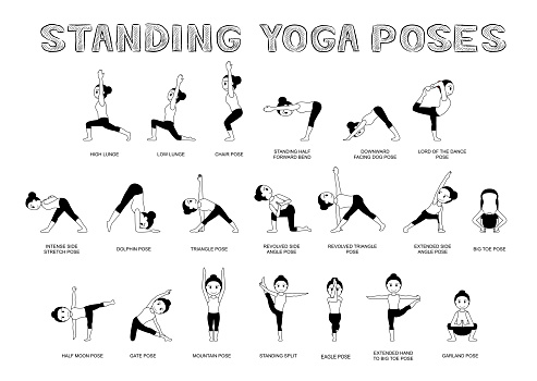 Yoga Standing Poses Vector Illustration Monochrome