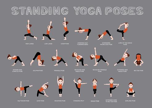 Yoga Standing Poses Vector Illustration