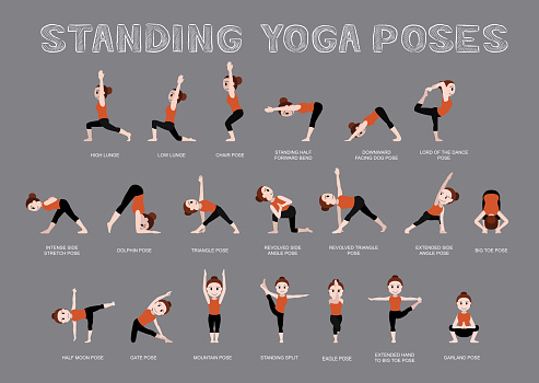 yoga standing poses vector illustration stock illustration
