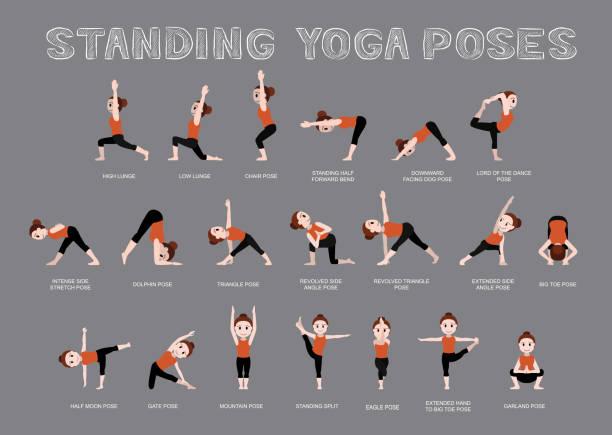 Yoga-Stellung stellt Vektor-Illustration – Vektorgrafik