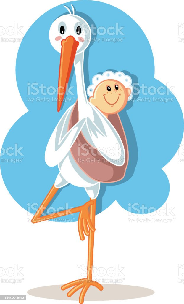 Yoga Stork Carrying Baby Vector Cartoon Stock Illustration Download Image Now Istock