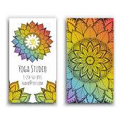 Yoga studio business card with mandala design vector illustration