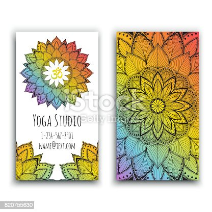 Yoga studio business card with mandala design vector illustration