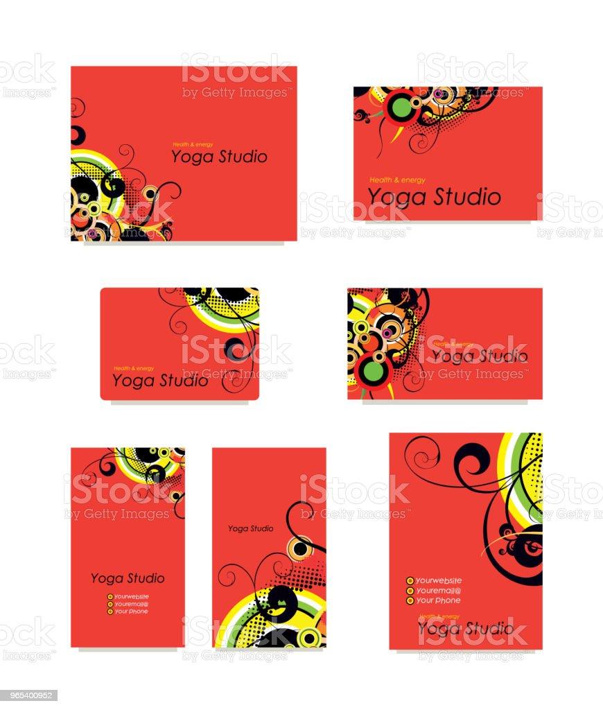 Yoga studio ensemble de cartes de visite. - clipart vectoriel de Abstrait libre de droits
