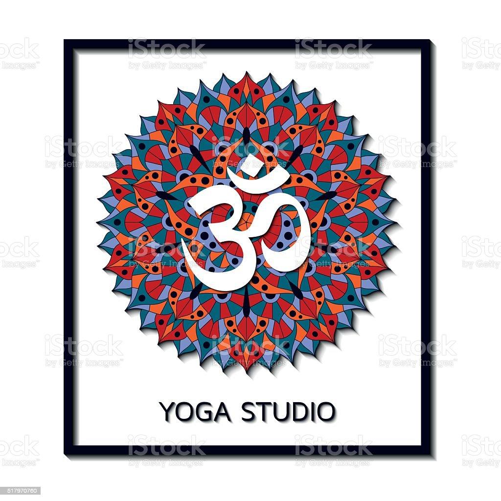 Yoga Estudio Plantilla De Negocios Con Pictograma De Chakra Del ...