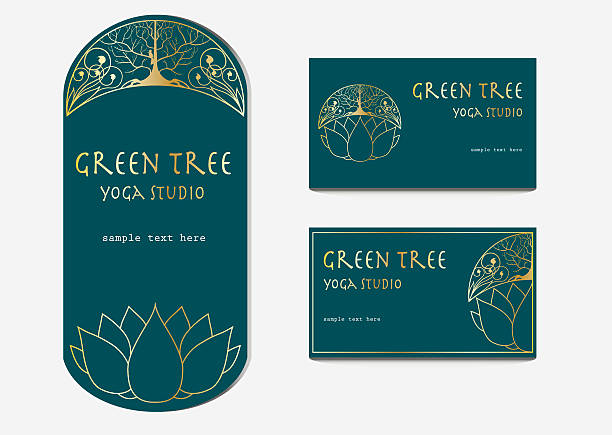 Yoga studio flyer and business card templates with lotus flower vector art illustration