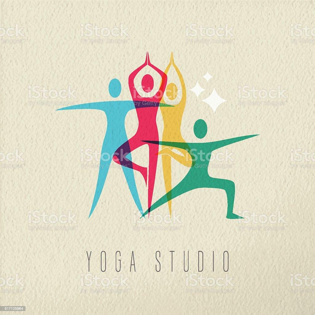 Yoga studio icon design of people doing meditation vector art illustration