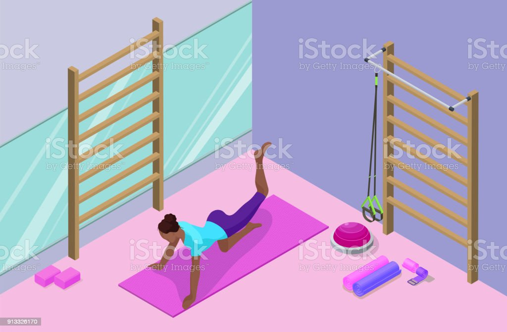 https://media.istockphoto.com/vectors/yoga-studio-interior-with-african-woman-doing-physical-fitness-3d-vector-id913326170