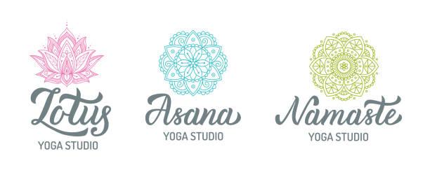 Yoga studio logo set Yoga studio logo set with mandalas isolated on white background. Hand lettering elements. Vector illustration. prayer pose yoga stock illustrations