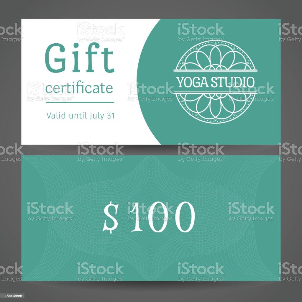 Yoga Studio Vector Gift Certificate Template Stock Vector Art & More ...