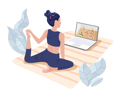 Yoga studios streaming online classes. Girl watching online sport tutorials on a laptop and working out at home. Concept illustration isolated on white.