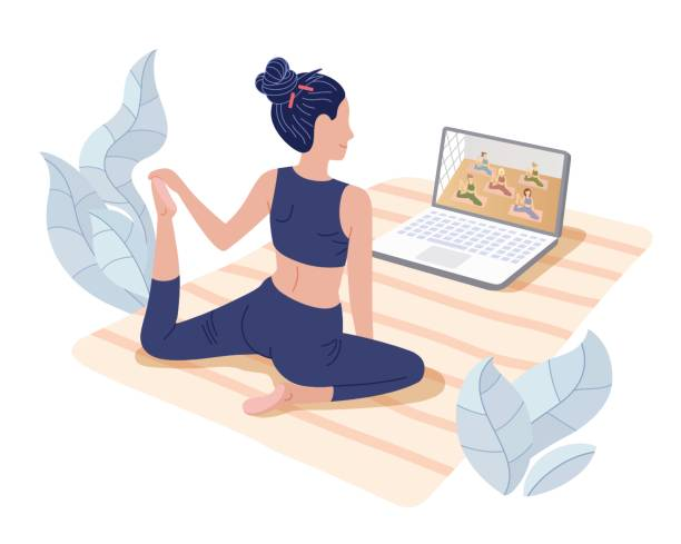 Yoga studios streaming online classes. Girl watching online sport tutorials on a laptop and working out at home. Concept illustration isolated on white. Yoga studios streaming online classes. Girl watching online sport tutorials on a laptop and working out at home. Concept illustration isolated on white. yoga stock illustrations