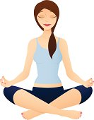 Vector illustration of a woman meditating, or performing the yoga sukhasana pose. Illustration uses linear gradients. Both .ai and AI8-compatible .eps formats are included, along with a high-res .jpg.
