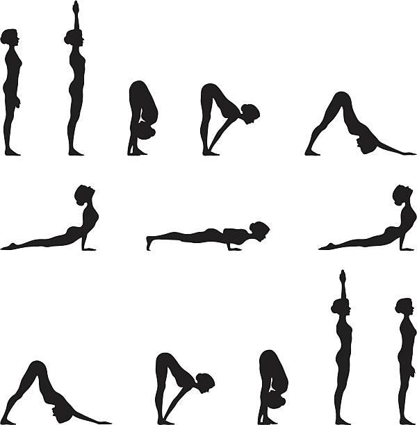 Yoga Sun Salutation Silhouette Series  sun salutation stock illustrations