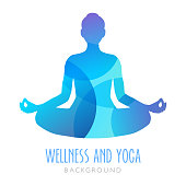 Yoga symbol, meditation person. Can be used as an ilustration for wellness and yoga studios or topics about meditation and mindfulness.